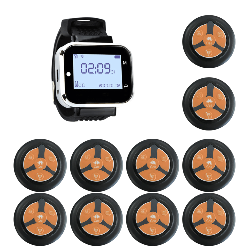 JINGLE BELLS 1 Watch Receiver 10 Call Button Wireless Waiter Calling System For Restaurant Service Pager