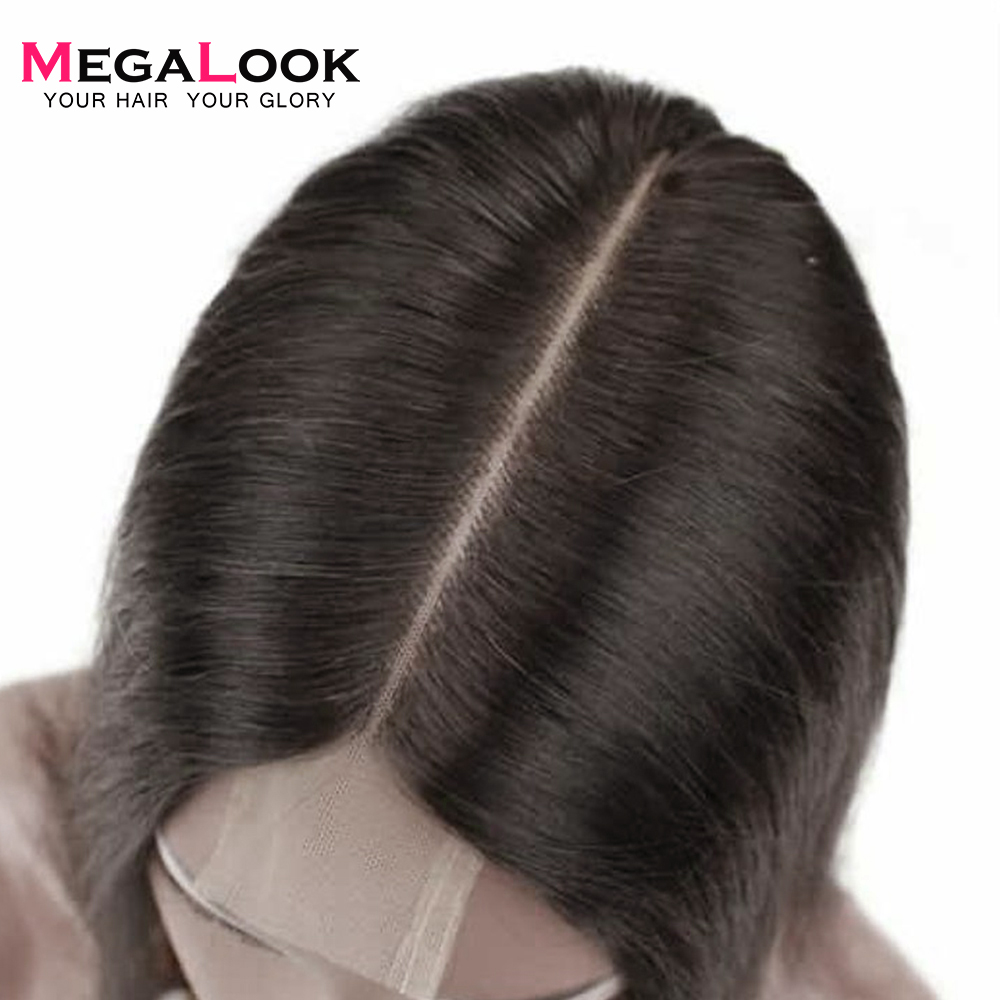 Megalook Brazilian Kim K Closure With Straight Hair Bundles 100% Remy Human Hair Bundles With Closure 2X6 Middle Part