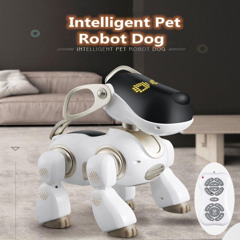 Le plus nouveau jouet d'apprentissage éducatif télécommande rc robot chien jouet pour animaux de compagnie simulation AI peut chanter parler jouer avec un enfant