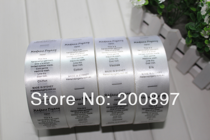 clothing labels and tags 1000pcs per roll garment care instruction printed label in satin or non