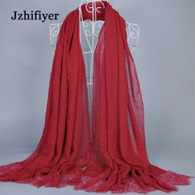 Women High Quality Hijabs Cotton Lace Trimming Viscose 100*200cm Maxi Plain Scarf Muslim