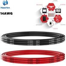 14 AWG 2mm2 Электрический провод черный и красный Силиконовый крюк вверх провод кабель Луженая медная проволока мягкий и гибкий 14 Калибр первичный провод