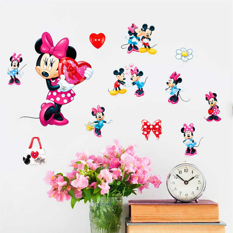 Cartoon Mickey Mine Mouse Decorative Wall Stickers For Nursery Kids Room DIY Gifts Decor Wall Art Ho