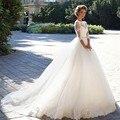 Vestido De Noiva De Renda Three Quarter Sleeves Princess Wedding Dress With Crystal Belt 2017 Vintage Ball Gown Wedding Gowns