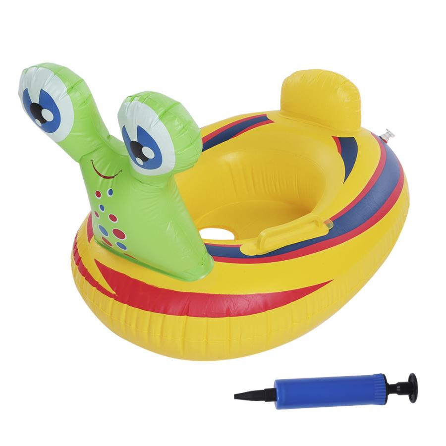 Portable Swimming Pool Cute Cartoon Animal Snail Shape Baby Swim Ring Kids Inflatable Swimming Boat Raft Floating Toy