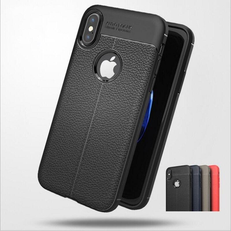 Личи кожа чехол для Apple IPhone X Роскошные Тонкий тонкий мягкий Силиконовый ТПУ Ретро Бизнес черный задняя крышка для iphone х чехол