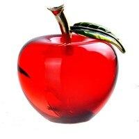 H & D 55mm 유약 크리스탈 애플 문진 아트 유리 입상 기념품 컬렉션 크리스마스 선물 공예 홈 데스크탑 장식 (레드)