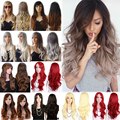 Premium Quality 70cm Long Wavy Curly Synthetic Full Wigs Women's Cosplay Party Play Wig Black Blonde Brown Mix Grey Cheap