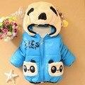 Oferta especial 2015 outono inverno bebê clothing crianças meninos meninas dos desenhos animados panda engrossar casaco de algodão acolchoado jaqueta de crianças amassado g96
