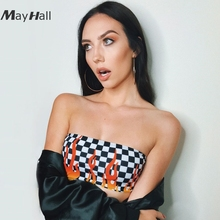 MayHall Sexy Black White Plaid Camis Women Skinny Open Back Cropped Tanks Top Flame Elastic Fitness ropa mujer verano 2018 MH318