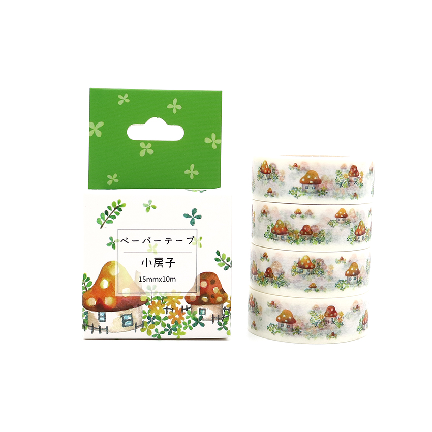 Box Package Kawaii Mushroom House Washi Tape Excellent Quality Colorful Paper Masking Tape DIY Decorative Tapes 10m*15mm