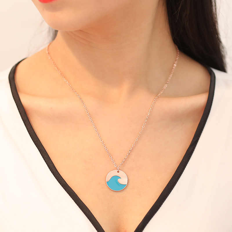 1pcs Summer blue wave necklace ocean beach jewelry
