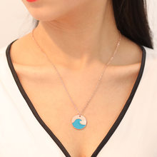 1pcs Summer blue wave necklace ocean beach jewelry(China)