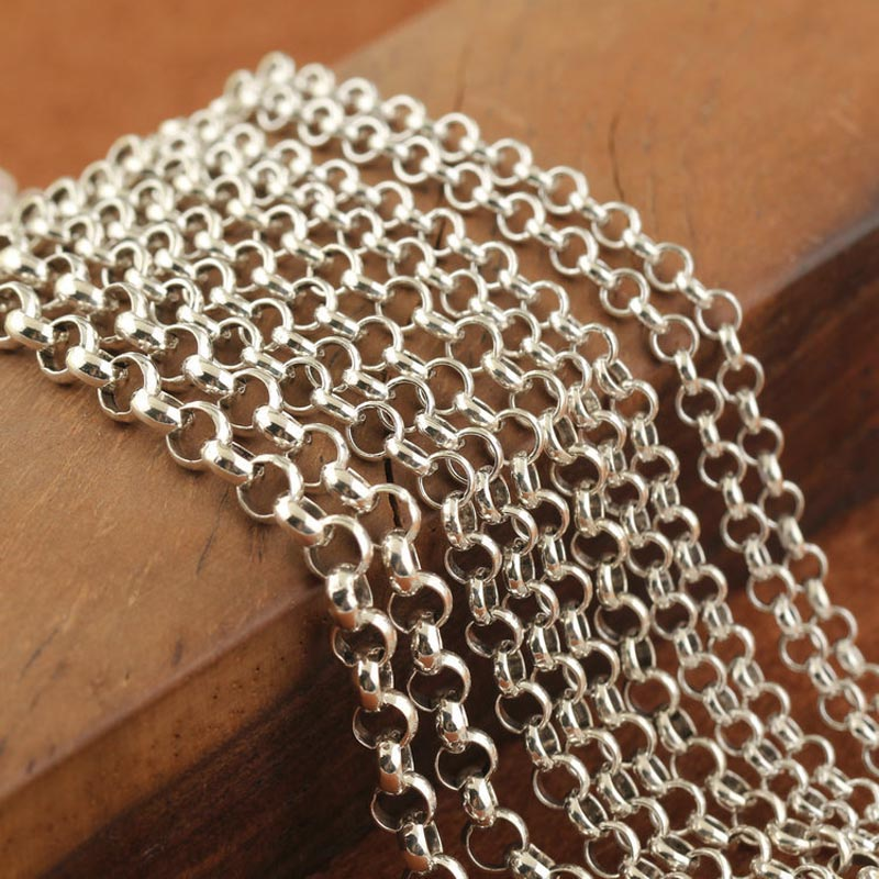 Hot Thai 925 Sterling Silver Pearl Cut Cross Chain Curb Men's Necklace Chain 3mm/4mm 45cm, 55cm,65cm,75cm,85cm