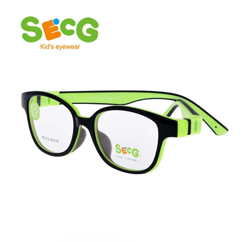 SECG Destacável Crianças Rodada Quadro Optical Crianças Quadros De Óculos de Grau Alimentício Material Retentor Cinta Óculos de Prescrição