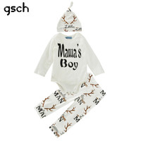 3PCS Baby Clothes Sets Reindeer Christmas Outfit Shirt+Pant+Hat 2016 Infant Clothing Sets Boy Girl Outfit roupas infantis menino
