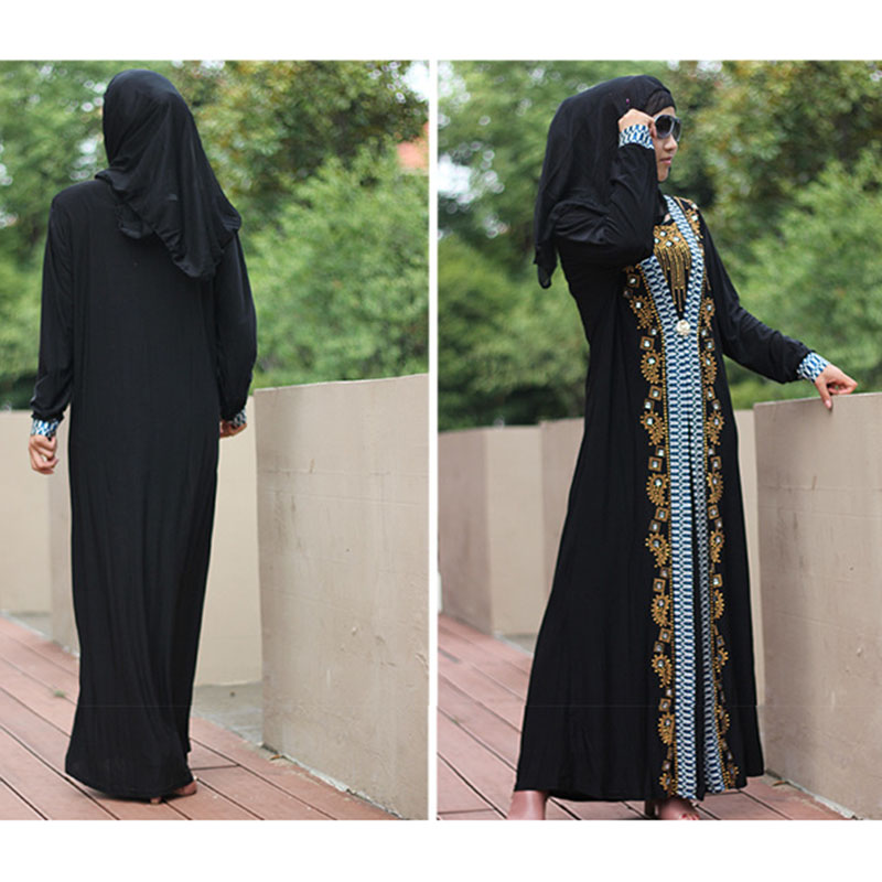 Golden Rhinestone Muslim Women's Maxi Dresses Women Abaya Arabic Long Trench Islamic Lady Thobe Middle East Ramadan Abaya