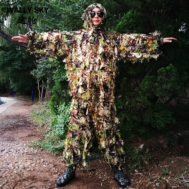 Mens Military Bionic Camouflage Clothes 3D Leaves Sniper Ghillie Suits CS Combat Training Hunting Suits for Shooting