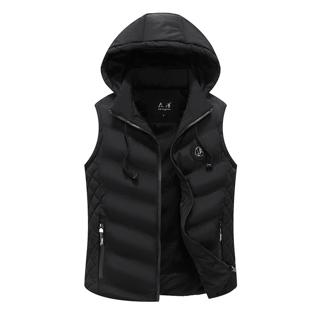 Icpans Men's vest winter Hoodes down cotton vest Men's Korean vest warm wave new style vest male zipper 2018 plus size 3XL