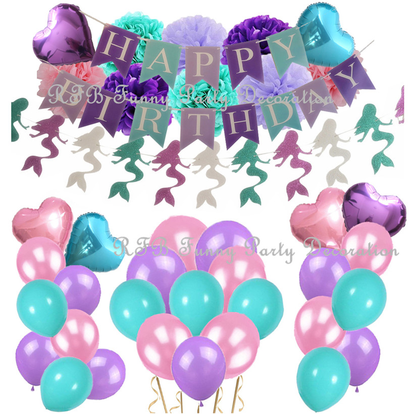Little Mermaid Party Supplies Birthday Decorations Banner Pom Poms Flowers Latex Balloons for Baby Girls First Birthday Party