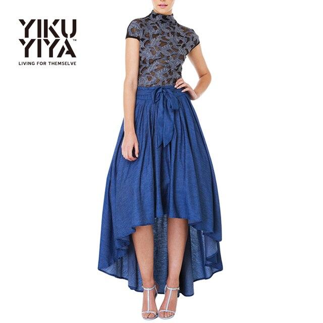 Yikuyiya nueva falda de la manera 2017 de las mujeres ropa vintage de alta cintura delgada elegante arco plisado sólido azul a-line mediados faldas