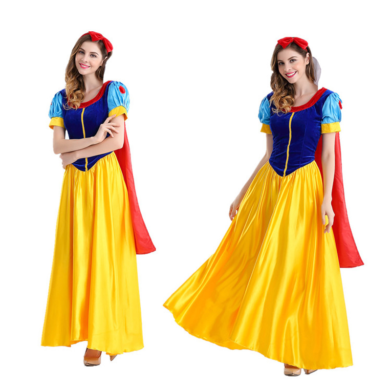 Princess snow white cosplay costume headband cloak fancy dress Adult Snow White Costume Carnival Halloween Costumes petticoat