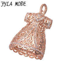 Fyla Mode Luxury Cubic Zirconia Charms Micro Pave Setting Skirt Charms Pendants For Jewelry Making DIY Handmade Craft 45*27mm