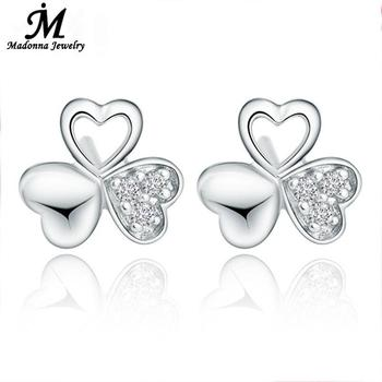 Classic silver Color stud Earrings For Women Lucky Clover White CZ Crystal Female ear Jewelry 2020