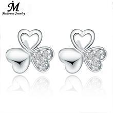 New Classic Fine silver plated del perno prisionero para mujeres trébol afortunado blanco CZ Diamond Crystal joyas oído femenino venta al por mayor