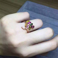 S925 Silver Inlay Natural Tourmaline Silver Ring Female Small Jewelry Sterling Silver Ring Jewelry