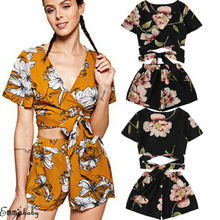 Women 2 Piece Set Floral Bandage Crop Top Shorts Summer Outfits Short недорого