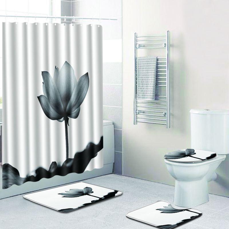 Flower Christmas Bathroom Shower Curtain Anti Slip Rug Sets Flannel Blanket White Carpet Toilet Mat Accessories In Bath