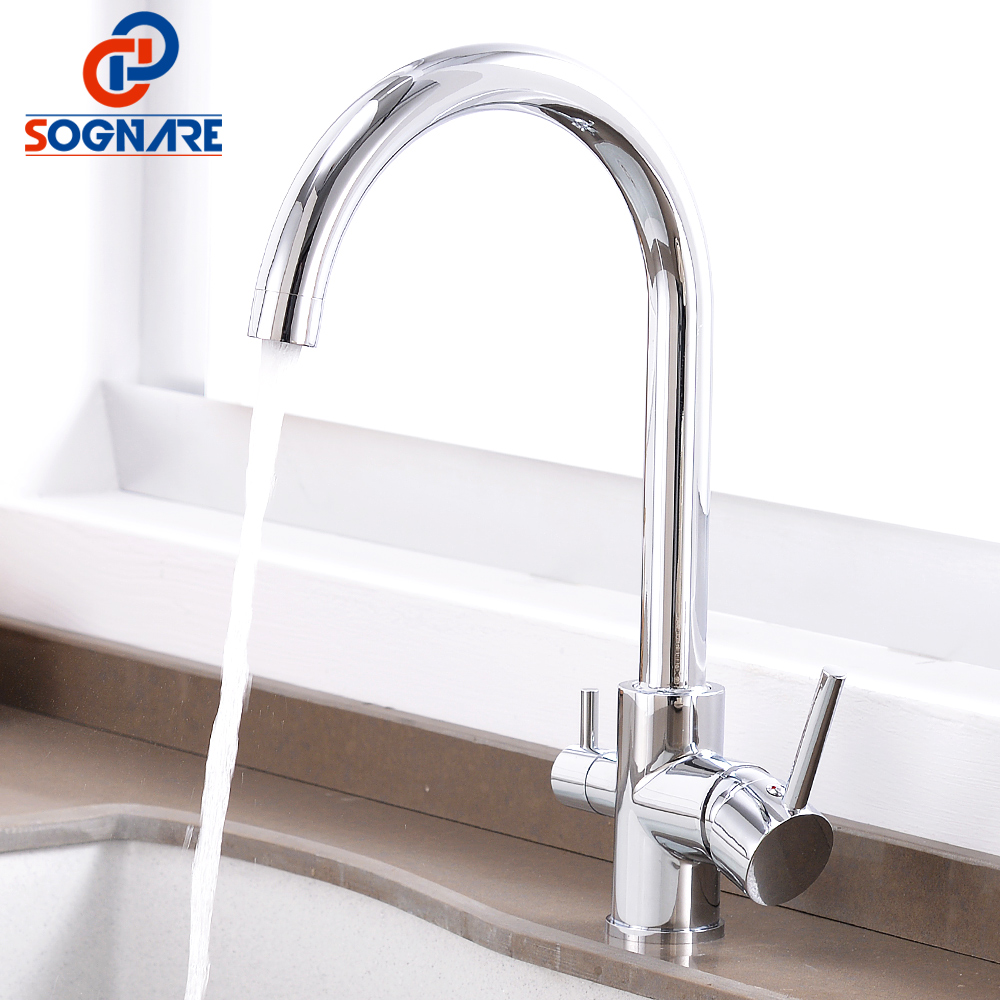 Kitchen Faucet with Filtered Water Mixer 360 Degree Rotation 3 Way Drink Water Tap Chrome Brass
