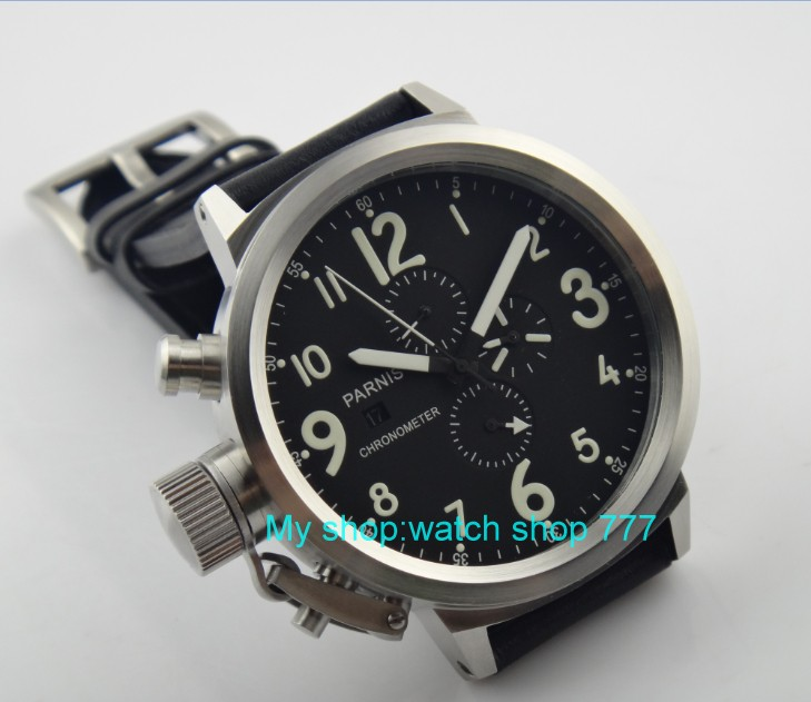 50mm PARNIS black dial Japanese quartz movement Chronograph multifunction men's watch Auto Date Quartz watches SY7 50mm parnis black dial japanese quartz movement chronograph multifunction men s watch auto date quartz watches pvd case sy14