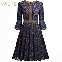 ISHINE Retro Hepburn Wind Lace Slim Print Vintage Dresses Women 2017 Autumn Long Sleeve Robe Gothic