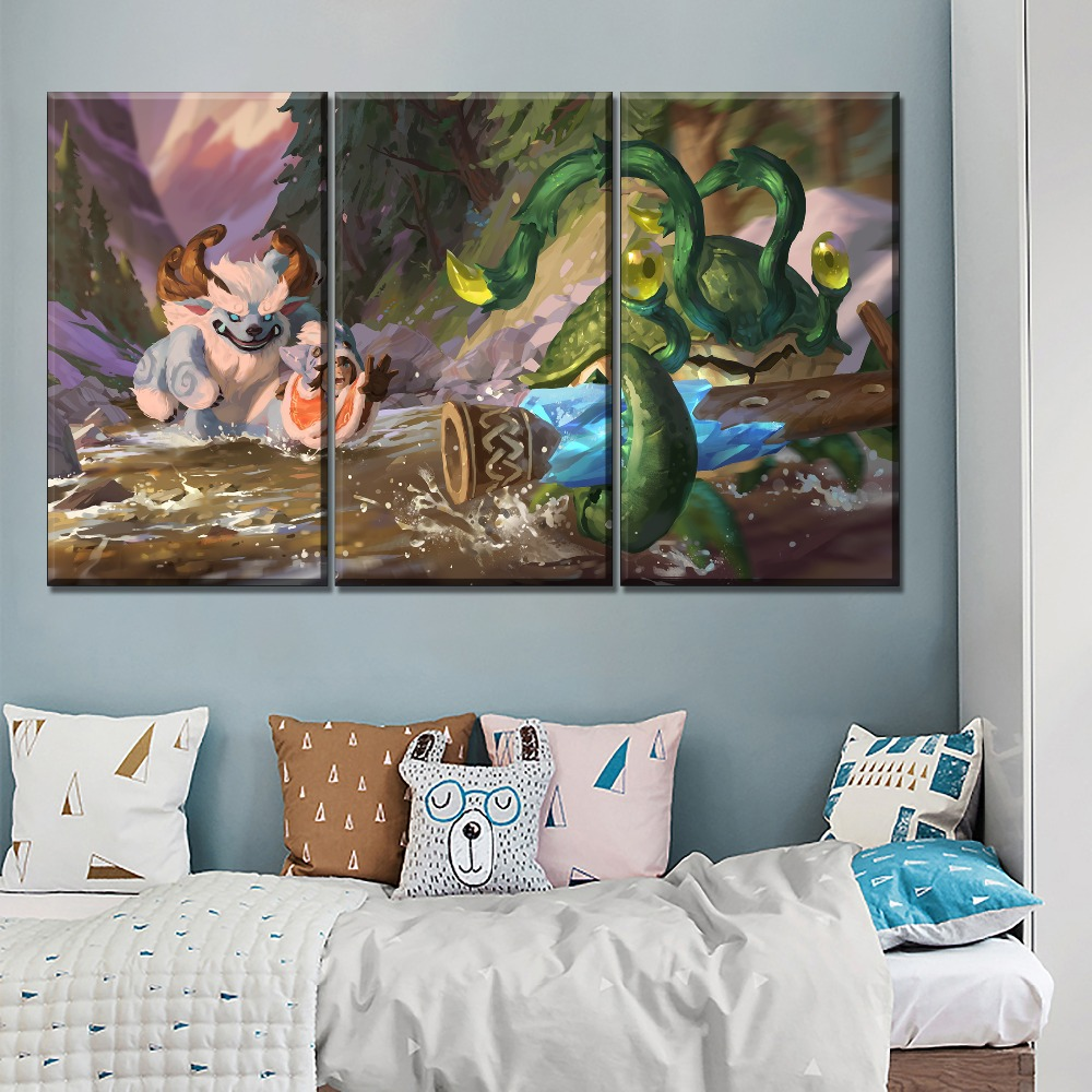 Canvas Print Nunu And Willump Oil Painting Home Decor Wall Art 3 Pieces League Of Legends Game Pictures Framework Or Frameless in Painting Calligraphy from Home Garden