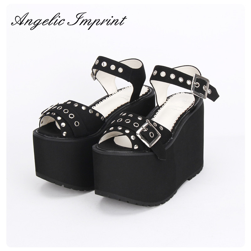 Women's Super High Heels Thick Platform Black Rivet Peep Toe Wedges Japan Harajuku Lolita Punk Sandals