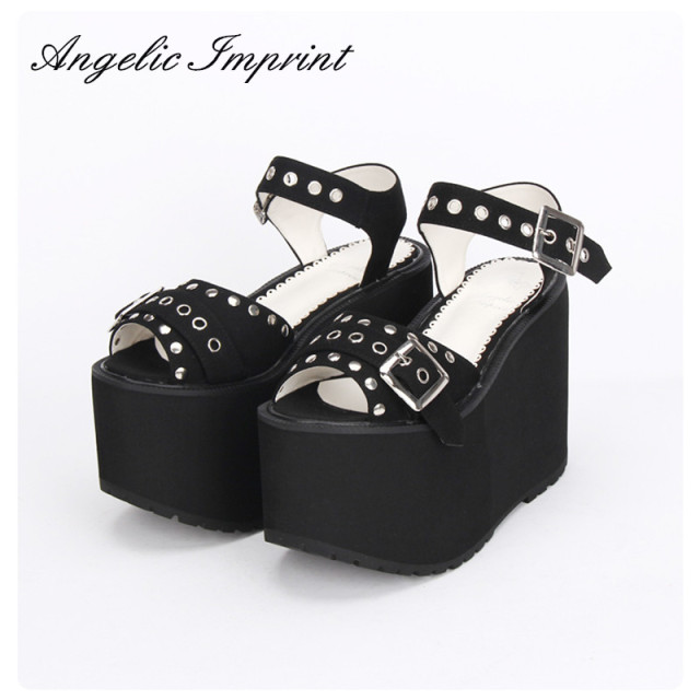 a68e415ebec2 Women s Super High Heels Thick Platform Black Rivet Peep Toe Wedges Japan  Harajuku Lolita Punk Sandals