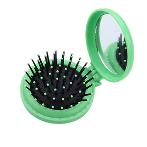 Image 3 - Portable Round Pocket Small Size Travel Massage Folding Comb Girl Hair Brush With Mirror Styling Tools 3 Colors