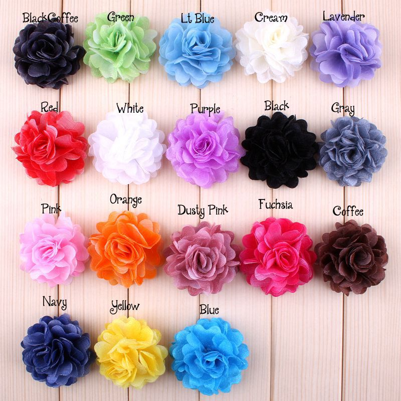 54pcs 2'' Baby Hair Flowers Fabric Flowers Without Clips For Newborn Headband Diy Children GirlHair Accessories XFH170