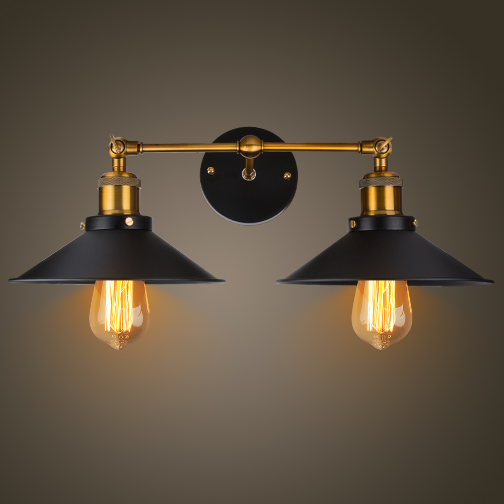 Modern Vintage Loft Metal Double Heads Wall Light Retro Brass Wall Lamp Country Style E27 Edison Sconce Lamp Fixtures 110V/220V