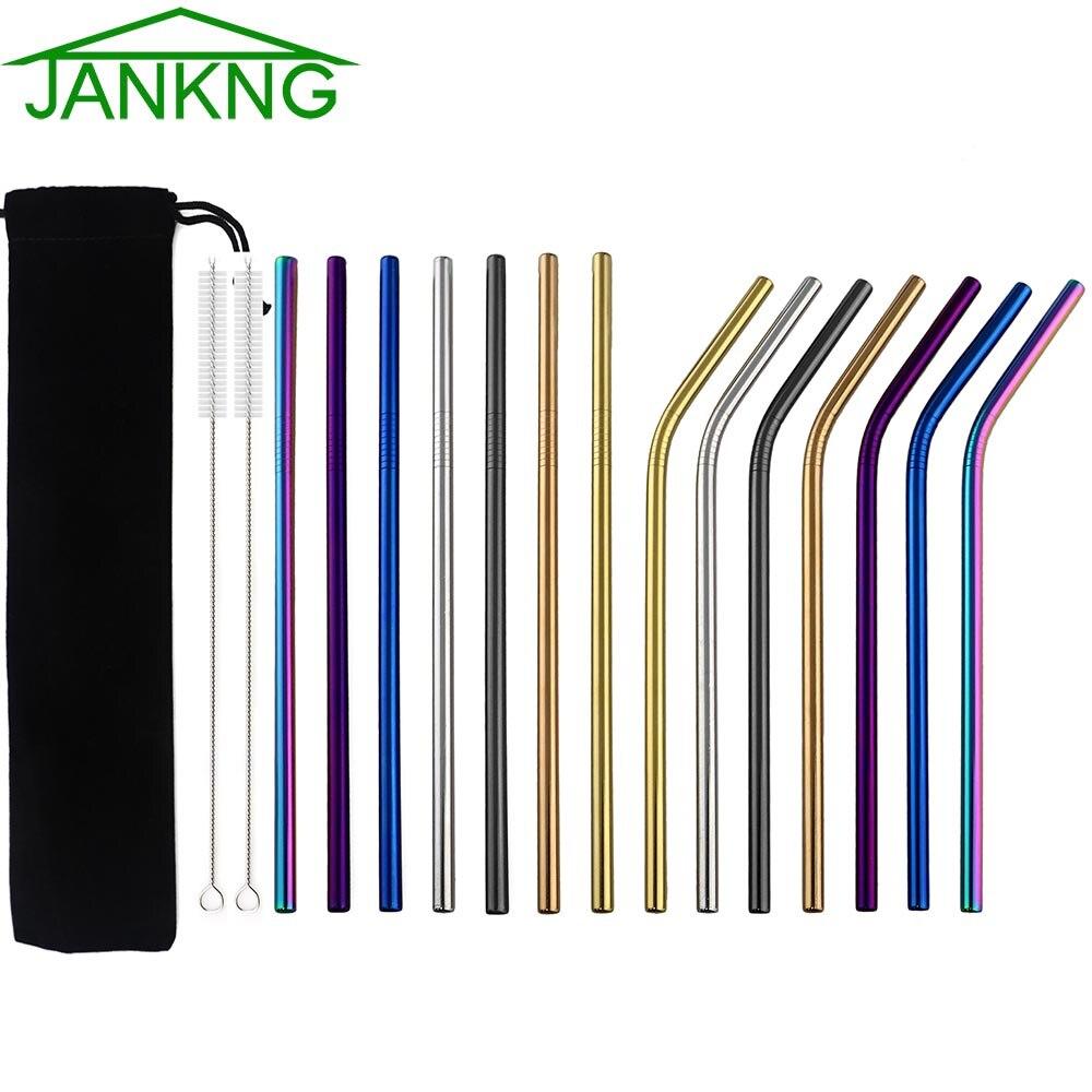 JANKNG – pailles à boire en métal réutilisables, 3 pièces, en acier inoxydable 304 coloré noir, droites et coudées avec brosse propre