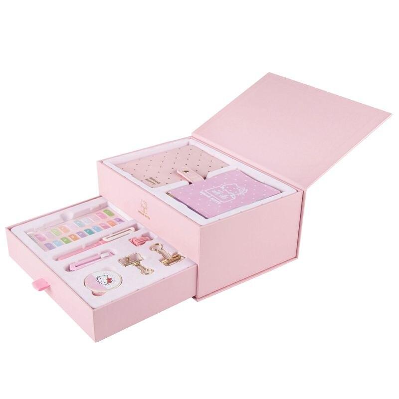 все цены на Cute Cartoon Cat A6 Journal Gift Pack Set Undated Planner Set Sticker+Diary+Pen+Clip+Washi Tape онлайн
