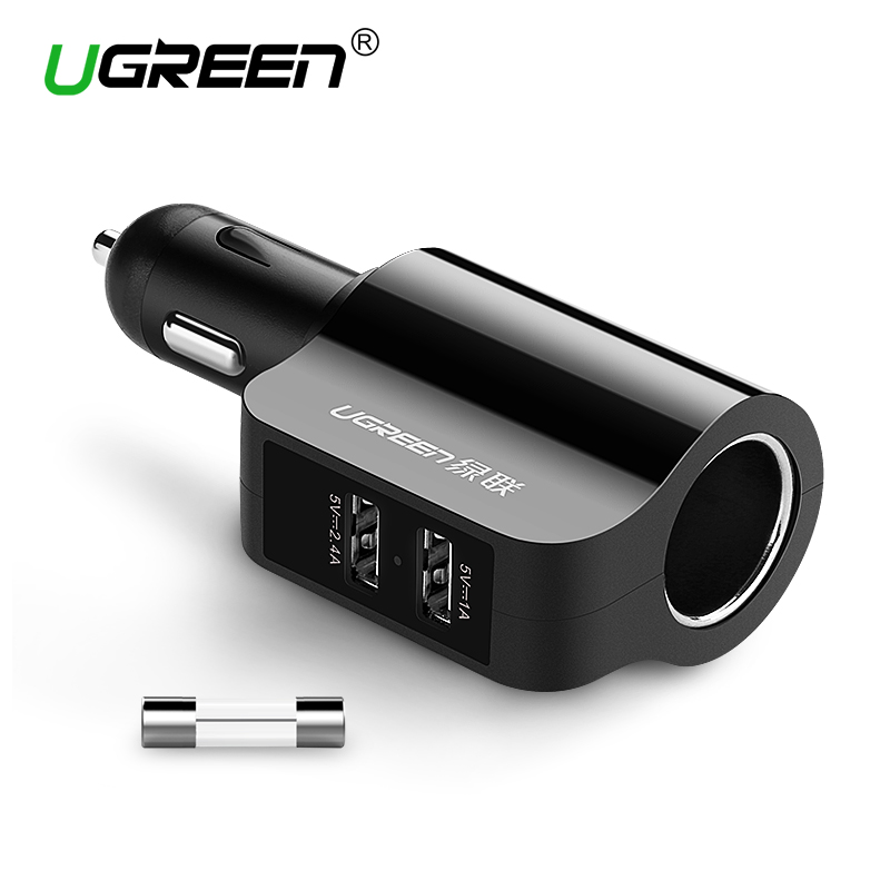 Ugreen New 2 4A 1A Dual USB Car Charger Support Car Recorder Universal Mobile Phone Tablet