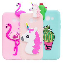 Cute Candy Color Soft TPU Phone Case For Samsung Galaxy A7 2017 A5 2018 A3 J3 J5 J7 2016 Cartoon Unicorn Flamingo Cactus Cover купальник summerhit b8