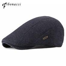 Фибоначчи новые модные мужские шапки Newsboy вязаные плюс бархатные береты шапки для мужчин осень зима плоская шляпа для папы