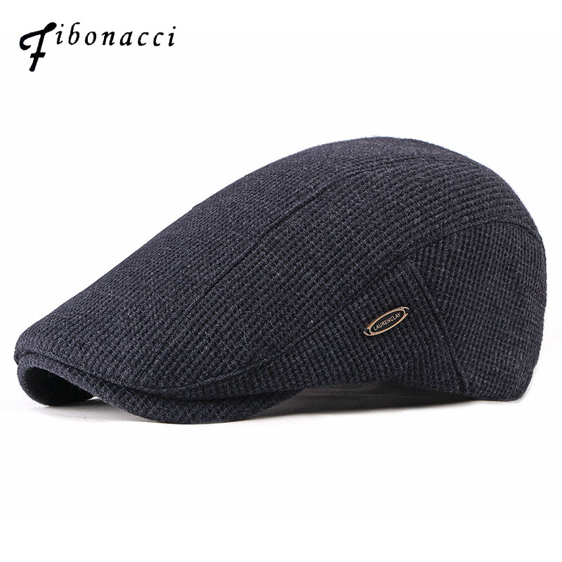 Fibonacci 2018 New Fashion Men's Newsboy Caps Knitting Plus Velvet Beret Hats For Men Autumn Winter Flat Dad Hat