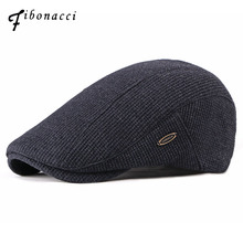 2d502e21c45da Fibonacci 2018 New Fashion Men s Newsboy Caps Knitting Plus Velvet Beret  Hats for Men Autumn Winter