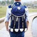 Versão coreana do afluxo de homens e mulheres bolsa de ombro saco de impressão sacos de moda sacos de viagem tela grande-capacidade mochila
