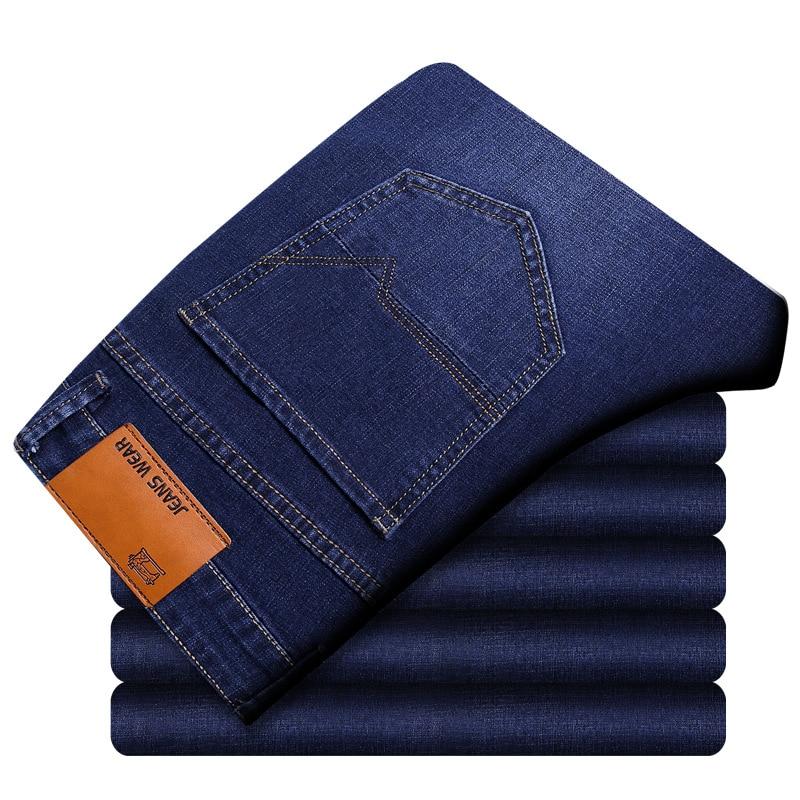 New Jeans Men Straight Fit Pants Classic Jeans Mens Denim Elasticity Fashion Cotton Trousers Male Casual Straight Black Pants